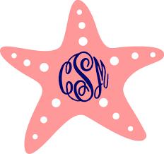 Monogrammed Starfish Vinyl Sticker