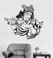 Vinyl Wall Decal Krishna Hinduism God India Hindu Stickers Mural Ig3789 Ebay