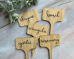 hand lettered herb garden labels custom