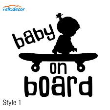 20 15cm Baby On Board Vinyl Decal Boy Girls On Boards Car Window Decor Sticker Baby Skateboard Stickers 2 Style Optional L915 Car Stickers Aliexpress