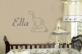 Baby Elephant With Personalized Name Boy Or Girl Wall Decal Large Size Options Nursery Quotes 39 Colors