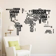 Black English Country Name World Map Wall Stikers For Office Classroom Study Room Livingroom Home Decoration Pvc Mural Art Decal Wall Stickers Aliexpress