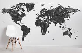 Black Grey World Map Wallpaper Muralswallpaper