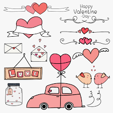 Happy Valentine Day Set Of Doodle Valentine Day Ornaments And Decorative Elements Pink Concept Car And Heart Balloon Banner Ribbon Labels Badge Stickers Handmade Vector Illustration Download Free Vectors Clipart Graphics