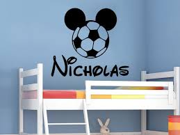 Mickey Mouse Football Ball Wall Decal Personalized Name Vinyl Etsy