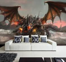 Wall Removable Sticker Dragon Fantasy Tale Horror Fire Vinyl Mural Dragon Wall Mural Dragon Wall Mural