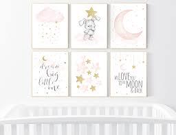 Nursery Decor Girl Blush Pink And Gold Nursery Wall Art Girl Bunny Nursery Blush Pink Gold Girl Nursery Wall Decor Cloud And Moon Lotusarts