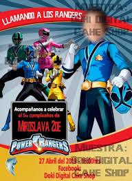 Invitacion Digital Imprimible De Power Rangers 85 00 En