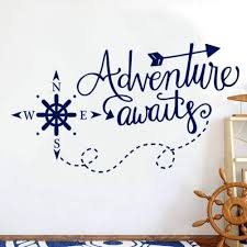 Amazon Com Ljqta Wall Sticker Adventure Awaits Wall Decals Nautical Compass Nursery Boys Decor Nautical Art Home Decorations Bathroom Kdis Room Sticker Home Kitchen