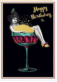 Happy Birthday Champagne Glass Greeting Card Chawton House