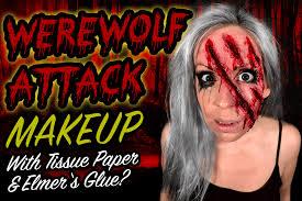 werewolf makeup with tissue