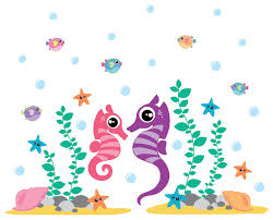 Seahorse Wall Decal Ocean Wall Decals Ocean Vinyl Sticker Seahorse Decals Beach Style Wall Decals By Wall Decal Source