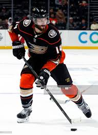 Adam Henrique of the Anaheim Ducks skates with the puck during the ...