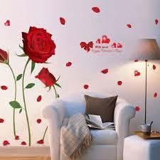 Diy Red Rose Wall Decal Mural Removable Flowers Valentine Stickers Home Decor Walmart Com Walmart Com