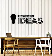 Vinyl Wall Decal Office Quote Teamwork Believe In Yours Idea Stickers Wallstickers4you