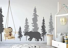 Amazon Com N Sunforest Woodland Wall Decals Pine Trees Bear Decal Woodland Decals Woodland Decor Pine Tree Decals Bear And Trees Decal Woodland Mural Home Kitchen