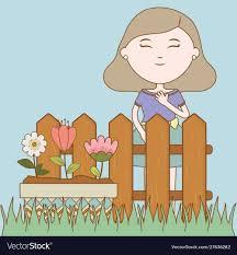 Girl Flowers In Pot Floral Garden Fence Cartoon Vector Image