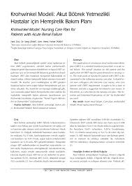 PDF) Krohwinkel modeli Akut böbrek yetmezlikli hastalar için ...