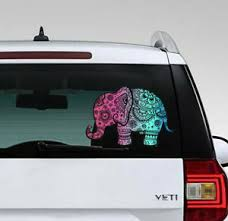 Elephant Full Color Mandala Car Sticker Car Rear Window Sticker Auto Decal Aa486 Ebay