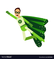 Ecological superhero man in green costume flying Vector Image