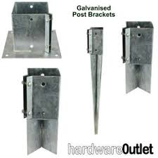 Galvanised Timber Fence Post Fixing Bracket Concrete In Bolt Down Repair Drive Ebay