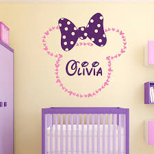 Yoyoyu Minnie Mouse Vinyl Wall Stickers Kids Room Personalised Name Removeable Decal Girl Bedroom Custom Decoration Zx276 Bemmengurun