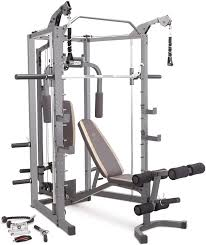 Amazon.com: Marcy Smith Cage Machine with Workout Bench and Weight Bar Home  Gym Equipment SM-4008: Sports & Outdoors