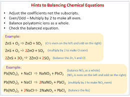 balance chemical equations solutions