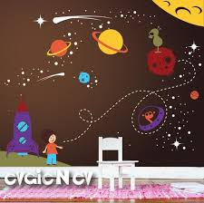 Spaceship Wall Decals Nursery Outer Space Stickers With Etsy Space Wall Decals Boys Wall Decals Nursery Wall Decals
