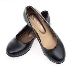 black flats flat heel work shoes