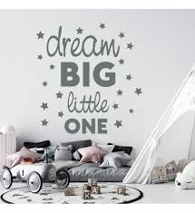 Vinyl Sticker Decal For Wall Dream Big Little One Quote Wall Sticker Boy Room Decor Quote Wall Decor Sticker Kids Room Decor Dream Big Sticker Nursery Decor For Boy Qoute Decal For