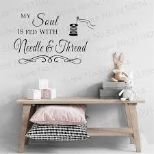 Sewing Craft Room Soul Needlethread Saying Vinyl Wall Decals Quote Art Decor Wall Sticker Bedroom Living Room Vinyl Decal Pw314 Wall Stickers Aliexpress