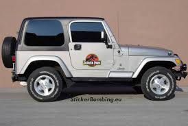 Jurassic Park Jeep Magnets 2 Removal Decals
