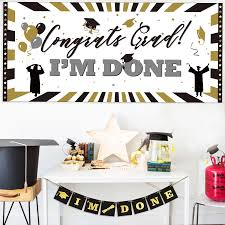 1pc Congrats Grad Im Done Sign Banner Classic Graduation Party Wall Banner Photo Booth Prop Photobooth Props Aliexpress