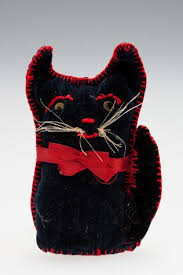 """Cat - Ada Perry, Navy Blue Velvet, circa 1930s-1960s, """"Perry migrated to  Australia as a widow with eight childre… 