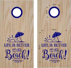 Life Is Better On The Beach Cornhole Board Vinyl Decal Sticker