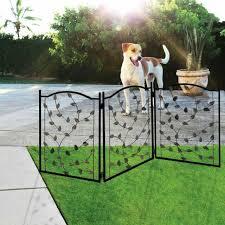 Metal Leaf Pet Gate Indoor Outdoor 3 Panel Design Decorative Tri Fold Dog Fence