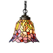 stained glass flower three led hanging