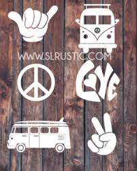 Hippie Decals Vw Van Decal Peace Sign Decal Shaka Hand Decal Love Slrustic