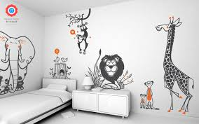 Savannah Wall Decals With Lovely Jungle Animals For Nursery Kids Room