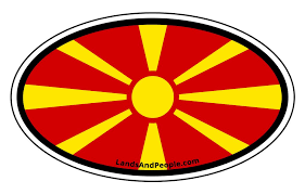 Macedonia Vinyl Sticker Oval For Cars Any Surface Lands People