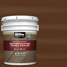 Behr Premium 5 Gal St 129 Chocolate Semi Transparent Waterproofing Exterior Wood Stain And Sealer 507705 The Home Depot
