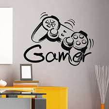 Amazon Com Game Controller Gamer Wall Decal Game Zone Wall Decals Vinyl Stickers Joystick Playing Playstation Game Boy Nursery Kids Playroom Decor Q080 Kitchen Dining