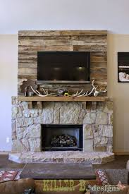 barn wood accent wall for the fireplace