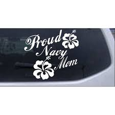 Proud Navy Mom Hibiscus Flowers Car Or Truck Window Decal Sticker Walmart Com Walmart Com