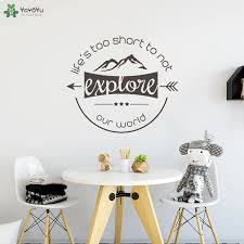 Yoyoyu Wall Decal Adventure Quotes Explore Wall Stickers Houseware Office Window Removable Interior Home Decor Waterproof Ct620 Wall Stickers Aliexpress