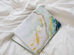 Glitter Agate Macbook Decal Blue Yellow Mint And Gold Vinyl Laptop Skin 2750019 Weddbook