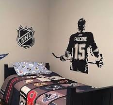 Hockey Player Wall Art Decal Vinyl Sticker Kids Bedroom Decor Custom Name Jersey Ebay