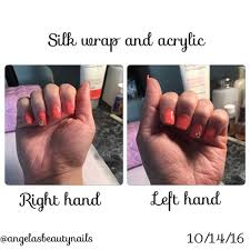 silk wrap and acrylic nails with a tip