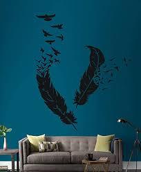 Amazon Com Wall Vinyl Sticker Decals Mural Room Design Pattern Art Bird Bird Pen Feather Birds Feathers Home Decor Bed Room Decor Living Room Decor 562 Home Kitchen
